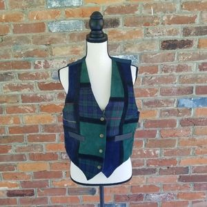 Learsi vest vintage small leather green plaid